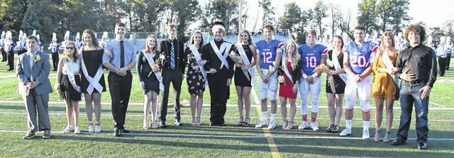 The 2018 Clinton-Massie homecoming court includes, from left: Will Marler, Brei Wulf, Brooklyn Spahr, Steven, Hunter Green, Paige Kleinholz, Jalen Richardson, 2018 Queen Emma Filipkowski, 2018 King Conner Hendrickson, Karlee Rice, Corey Stulz, Emily Ireland, Daulton Wolfe, Izabella Pinardi, Tyler Beam, Lauren Amberger, and Noah Corbett.