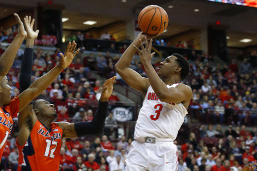 FILE - In this Feb. 4, 2018, file photo, Ohio State's C.J. Jackson plays against Illinois during an NCAA college basketball game, in Columbus, Ohio. The Buckeyes expect important contributions from senior point guard C.J. Jackson, who was the team's second-leading scorer last year. (AP Photo/Jay LaPrete, File)