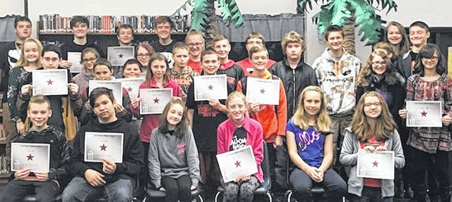 The winners of the East Clinton Middle School Astro Achiever Awards are: pictured, Parker Barnhart, Sydney Beiting, Gretchen Boggs, Claire Brown, Dakota Collom, Maddix Crowe, Max Crowe, Kaylyn Deaton, Preston Dixon, Aurora Fair, Bo Frye, Brenton Hamilton, Kaden Hiles, Gage Jarrell, Devin Kratzer, Kaitlyn Kratzer, Timmi Mahanes, Sequoia McClaskie, Liam McPherson, Emalee Meddock, Teddy Murphy, Eli Otto, Christopher Rider, Haylee Riehle, Jeffrey Roehrich, Brenton Rosenwirth, Chloe Scott, Skylar Slagle, Lauren Stonewall, Seth Tagg, Leanna Wallace, and Reagan Watkins. Not pictured are Trinity Bain, Jacob Davis, Troy Griffith, Madison Johnson, Terrianna Nance, Kaileiana Pennisten, Taylor Shaw, and Jason Taylor.
