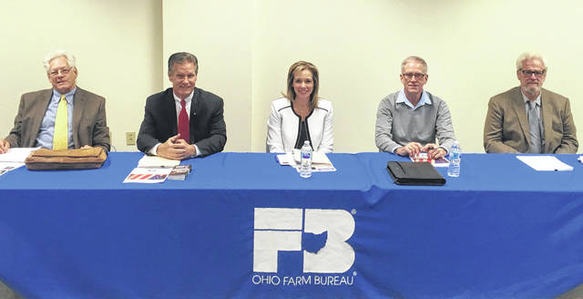 From left are panelists David Little, Director of Special Projects for Yes On Issue One; Judge Timothy Tepe, Warren County Common Pleas Court; Gina Speaks-Eshler, Deputy Director of Clinton County Job & Family Services; Kent Vandervort, Levy Chairman; and Richard Moyer, Clinton County Prosecuting Attorney.