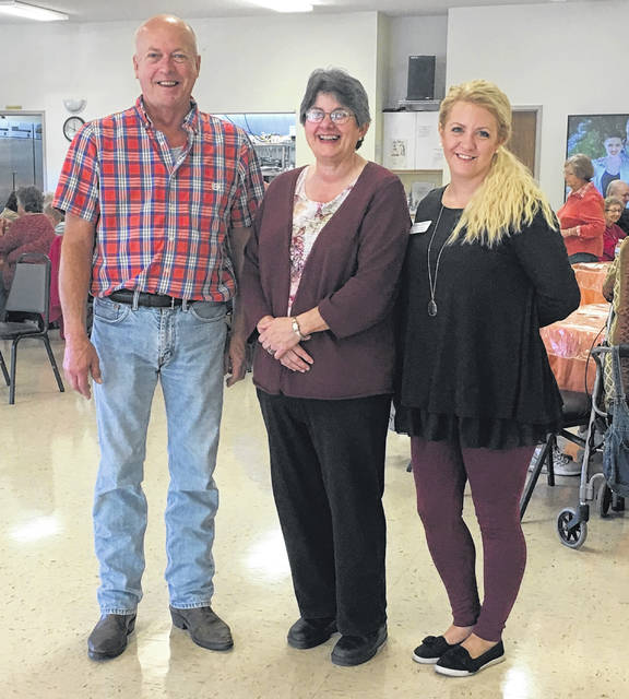 Director of Marketing & Admissions of Wilmington Nursing & Rehabilitation Center Sasha Collins joins staff of the Wilmington Savings Bank Clinton County Senior Center, Stella & Brian, for a monthly meal provided to their members by Wilmington Nursing & Rehabilitation Center.