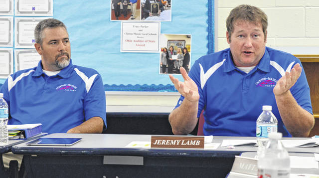 Over the summer the Clinton-Massie Board of Education approved, by a vote of 5-0, placing an earned income tax proposal on the fall ballot. From left is board member Mike Goodall and Board of Education President Jeremy Lamb.