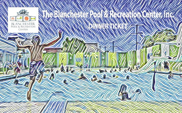 A dinner ticket for the fundraiser for the proposed Blanchester Pool & Recreation Center.