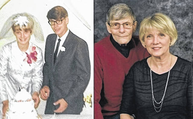 Vicki and Joe Trapp on their wedding day, beginning a marriage that has lasted 50 years.
