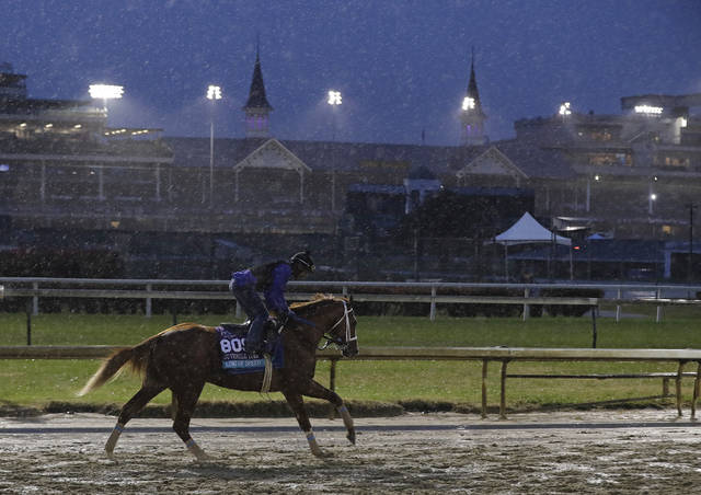 An exercise rider rides King of Speed during morning workouts before the Breeders Cup horse races at Churchill Downs, Thursday, Nov. 1, 2018, in Louisville, Ky. (AP Photo/Darron Cummings)