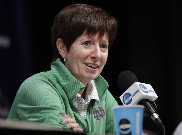 File-This March 31, 2018, file photo shows Notre Dame head coach Muffet McGraw responding to a question during a news conference for the women's NCAA Final Four college basketball tournament in Columbus, Ohio. College basketball season's starting earlier and earlier and that's something top coaches McGraw and Geno Auriemma aren't thrilled about it. A sport that used to begin practice around Oct. 15 and have its first games at Thanksgiving is now beginning nearly three weeks sooner. Tuesday, Nov. 6, 2018, will be the first day of games with nearly 100 women's contests scheduled and nearly 150 men's ones as well. (AP Photo/Tony Dejak, File)