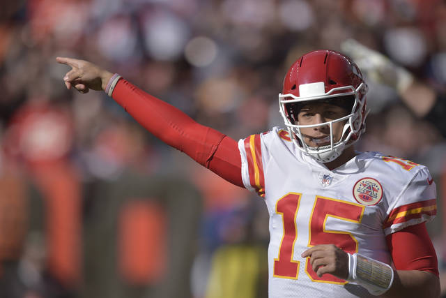 FILE - In this Sunday, Nov. 4, 2018 file photo, Kansas City Chiefs quarterback Patrick Mahomes (15) in action during an NFL football game against the Cleveland Browns in Cleveland. After years of declines, NFL television ratings are showing modest gains. Three of the league's television partners have shown increases after the first nine week of the season while one remains flat. That is welcome news after ratings decreased 9.7 percent last season and 8 percent in 2016. (AP Photo/David Richard, File)