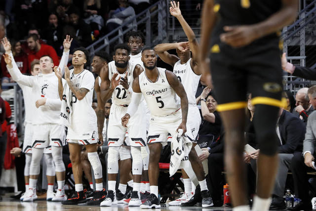 Players on the Cincinnati bench react during the first half of an NCAA college basketball game against Milwaukee, Friday, Nov. 16, 2018, in Cincinnati. (AP Photo/John Minchillo)