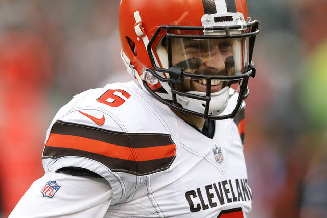 Cleveland Browns quarterback Baker Mayfield smiles in the second half of an NFL football game against the Cincinnati Bengals, Sunday, Nov. 25, 2018, in Cincinnati. (AP Photo/Gary Landers)