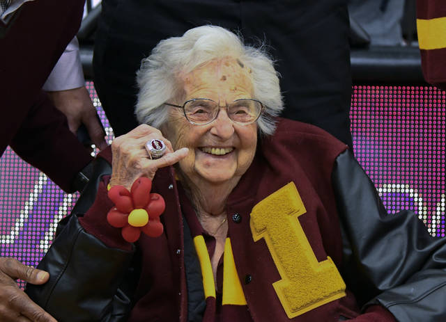Loyola University of Chicago's Sister Jean shows off the NCAA Final Four ring she received before an NCAA college basketball game between Loyola of Chicago and Nevada in Chicago, Tuesday, Nov. 27, 2018. (AP Photo/Matt Marton)