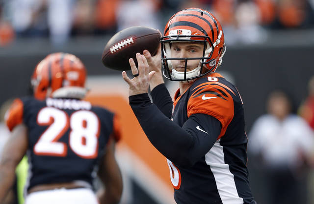 FILE - In this Sunday, Nov. 25, 2018, file photo, Cincinnati Bengals quarterback Jeff Driskel throws a pass in the second half of an NFL football game against the Cleveland Browns in Cincinnati. On Sunday, the Bengals' backup quarterback will make his first NFL start against the Broncos in a matchup of teams headed in opposite directions. (AP Photo/Gary Landers, File)