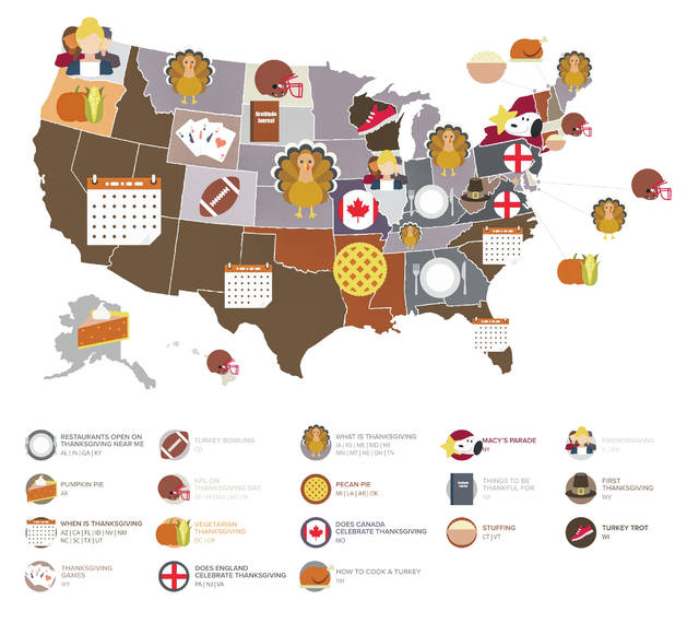 This map shows what people in each state are searching online around Thanksgiving.