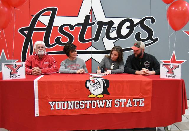 Taylor Boeckmann, a senior at East Clinton High School, this week signed a letter of intent to attend Youngstown State University, where she will play the outfield for the Penguins' softball team and coach Brian Campbell. Youngstown State, a Division I school, competes in the Horizon League. Boeckmann, an honor student who is also active in East Clinton FFA, was honorable mention All-Ohio Division III last year after hitting .528 for the Lady Astros. From left are coach Matthew Zimmerman, Amy Zimmerman (mom), Taylor Boeckmann, and Jason Boeckmann (father).