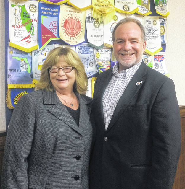Denise Stryker, Executive Director of Clinton County Homeless Shelter, and Dan Evers, President of the Wilmington Rotary Club which meets at noon on Monday.