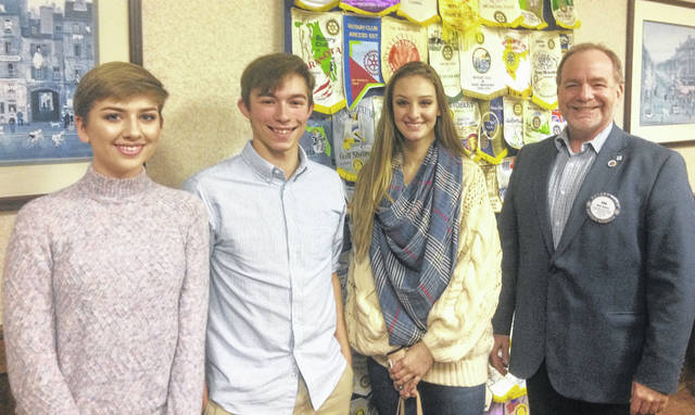 From left are Chloe Mason from Wilmington High School, Zachary Mitchell from East Clinton High School, Raelynne Mason from Clinton-Massie High School, and Dan Evers, President of the Wilmington Rotary Club.