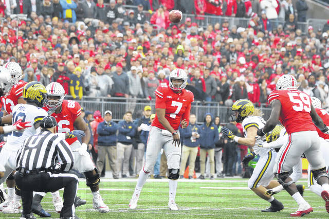 Dwayne Haskins Jr. fires a pass in the Buckeyes' dominant win over Michigan last Saturday.
