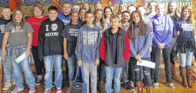 Pictured are members of the Blanchester Middle School seventh-grade academic quiz bowl teams.