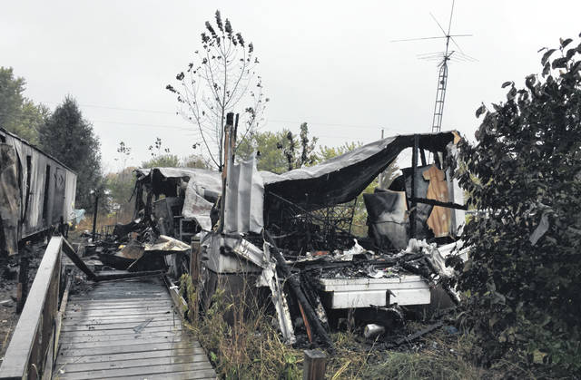 Shown is what remains of a trailer that burned in the early hours of Friday morning last week on Shaw Baker Road. The fire claimed the life a man who the county coroner suspects was smoking cigarettes while using oxygen.