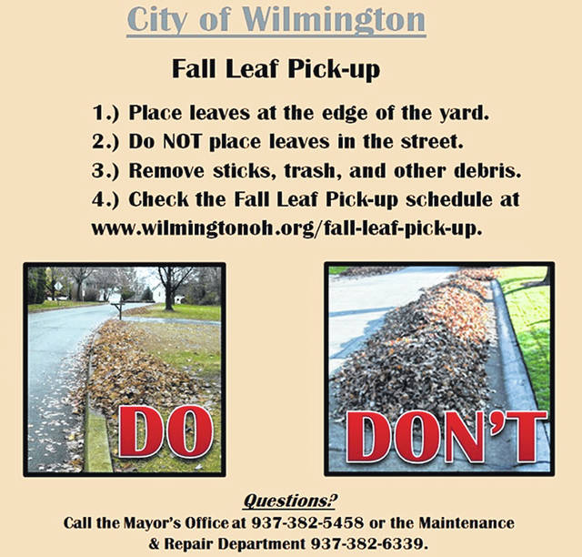 The City of Wilmington has some reminders about 2018 fall leaf pick-up. To see the pick-up schedule, visit http://bit.ly/2JF4msZ .
