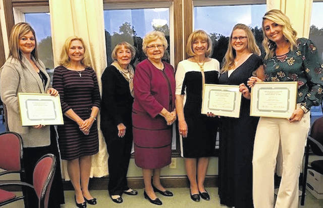The scholarship recipients and committee include, from left, Cassandra Tagg, Kathleen Havey, Carolyn Matthews, Frances Sharp, Pat Richardson, Kristin Andrews and Casie Tira.
