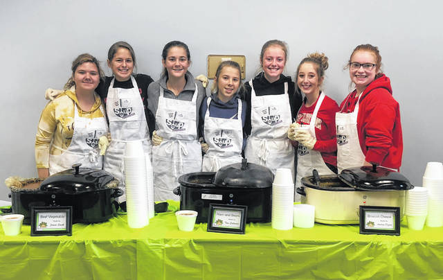 These young ladies from East Clinton Local Schools saw to it that cups were filled with the soup of your choice at the Soup & Chili Luncheon Fundraiser to benefit the Clinton County Homeless Shelter on Friday. The soups and chili included chicken noodle, potato, beef vegetable, vegetarian, chili, ham-and-bean, and broccoli cheese. Decisions, decisions.