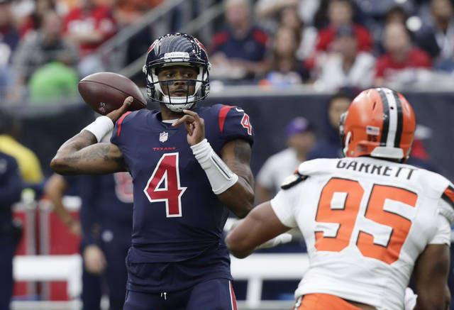 Houston Texans quarterback Deshaun Watson (4) throws against the Cleveland Browns during the first half of an NFL football game, Sunday, Dec. 2, 2018, in Houston. (AP Photo/Sam Craft)
