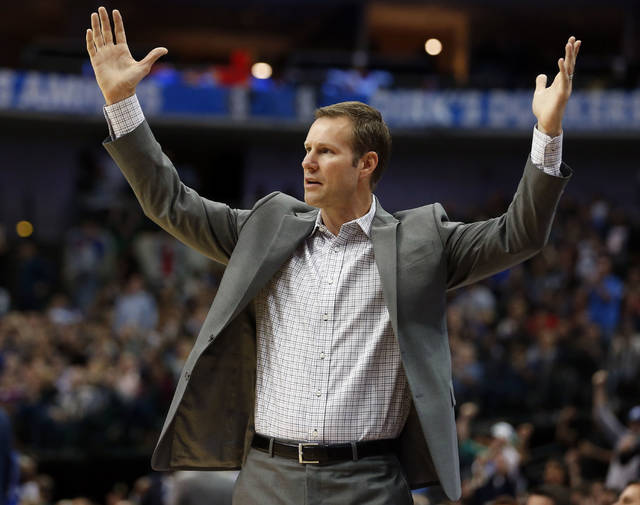 FILE - In this Oct. 22, 2018, file photo, Chicago Bulls head coach Fred Hoiberg questions a call during the second half of an NBA basketball game against the Dallas Mavericks, in Dallas. The Bulls fired Hoiberg Monday, Dec. 3, 2018. (AP Photo/Michael Ainsworth, File)