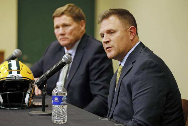 Green Bay Packers general manager Brian Gutekunst right speaks as team president Mark Murphy looks on during a press conference at Lambeau field in Green Bay Wisc. Monday Dec. 3 2018. The Packers fired head coach Mike Mc Carthy after a loss to the A