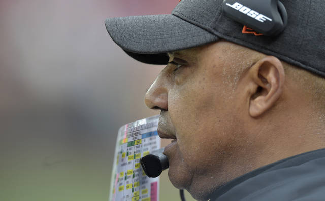 Cincinnati Bengals head coach Marvin Lewis watches during the first half of an NFL football game against the Cleveland Browns, Sunday, Dec. 23, 2018, in Cleveland. (AP Photo/David Richard)