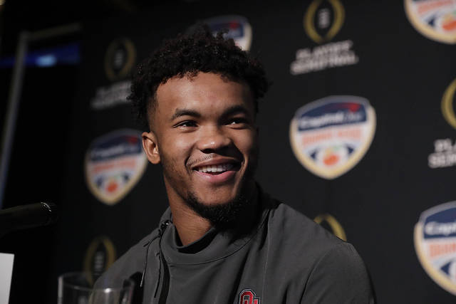 Oklahoma quarterback Kyler Murray speaks during an NCAA college football media day on Thursday, Dec. 27, 2018, in Miami Gardens, Fla. Alabama plays Oklahoma in the Orange Bowl on Dec. 29. (AP Photo/Brynn Anderson)