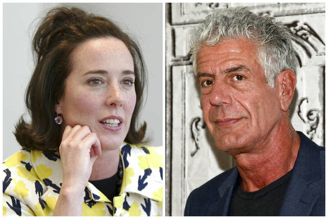 This combination of 2004 and 2016 file photos shows fashion designer Kate Spade and TV personality chef Anthony Bourdain in New York. Spade was found dead in an apparent suicide in her New York City apartment on June 5 and Bourdain has been found dead in his hotel room in an apparent suicide in France on June 8.