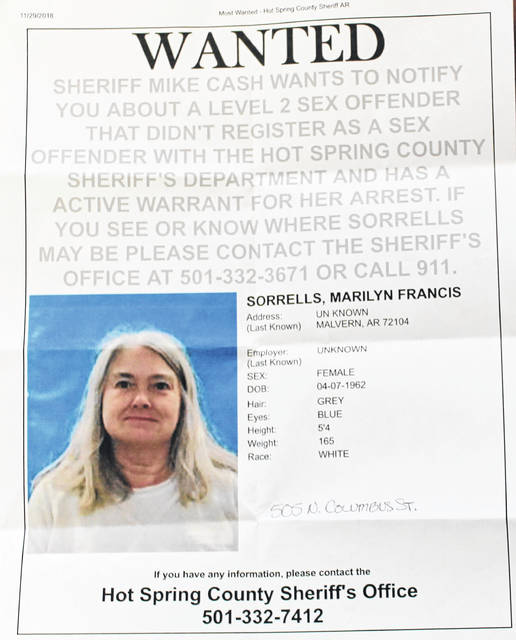 Shown is a copy of the wanted poster of Marilyn Sorrells of Arkansas.