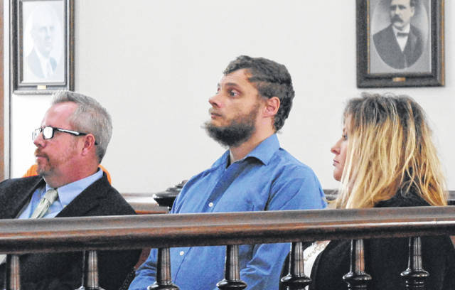 Dennis Lechner, middle, is shown in Highland County Common Pleas Court on Thursday with attorneys Lee Koogler, left, and Danielle Rask, right.