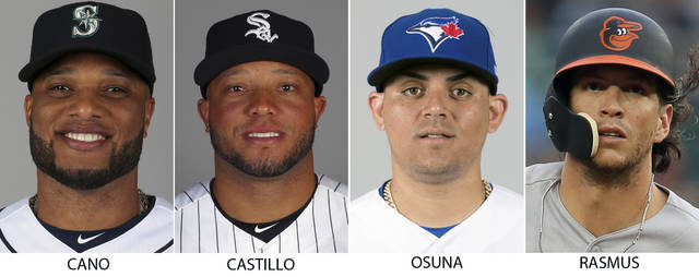From left are 2018 file photos showing Robinson Cano, Welington Castillo, Roberto Osuna and Colby Rasmus. Spending on Major League Baseball payrolls dropped last season for the first time since 2010, an $18 million decrease attributable to drug and domestic violence suspensions and a player retiring at midseason. Seattle second baseman Robinson Cano lost about $11.7 million and Chicago White Sox catcher Welington Castillo approximately $3.5 million after positive drug tests. Closer Roberto Osuna's domestic violence suspension cost him roughly $2.1 million from Toronto and Houston, and Baltimore outfielder Colby Rasmus walked away from about $1.5 million rather than try to come back from a hip injury. (AP Photo/File)