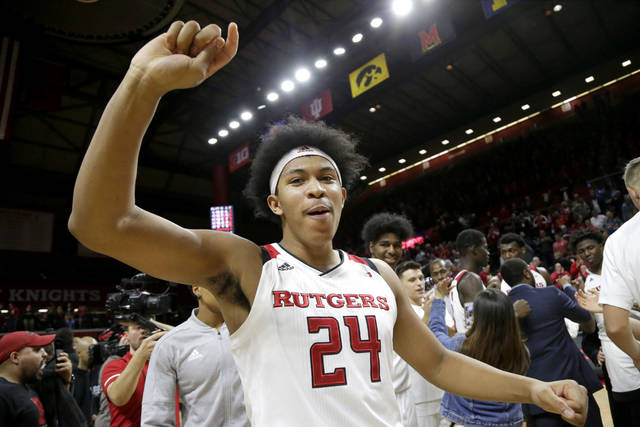 Rutgers forward Ron Harper Jr. celebrates after defeating Ohio State 64-61 during an NCAA college basketball game, Wednesday, Jan. 9, 2019, in Piscataway, N.J. (AP Photo/Julio Cortez)