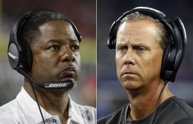 FILE - At left, in an Aug. 30, 2018, file photo, then-Arizona Cardinals head coach Steve Wilks looks on during the first half of a preseason NFL football game against the Denver Broncos, in Glendale, Ariz. At right, in a Dec. 18, 2016, file photo, then-Tampa Bay Buccaneers offensive coordinator Todd Monken walks along the sideline during an NFL football game against the Dallas Cowboys, in Arlington, Texas. New Browns coach Freddie Kitchens has hired Todd Monken as his offensive coordinator and Steve Wilks to run his defense. (AP Photo/File)