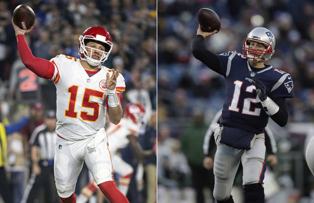 FILE - At left, in a Nov. 19, 2018, file photo, Kansas City Chiefs quarterback Patrick Mahomes throws a pass during an NFL football game against the Los Angeles Rams in Los Angeles. At right, in a Dec. 30, 2018, file photo, New England Patriots quarterback Tom Brady throws during the second half of an NFL football game in Foxborough, Mass. It seems football fans everywhere are suddenly on the Chiefs' bandwagon, enthralled by their record-setting young quarterback and exciting offensive playmakers while hopeful that their amiable old coach can finally win the big one. Then again, maybe they're just fans of anybody facing New England.(AP Photo/File)