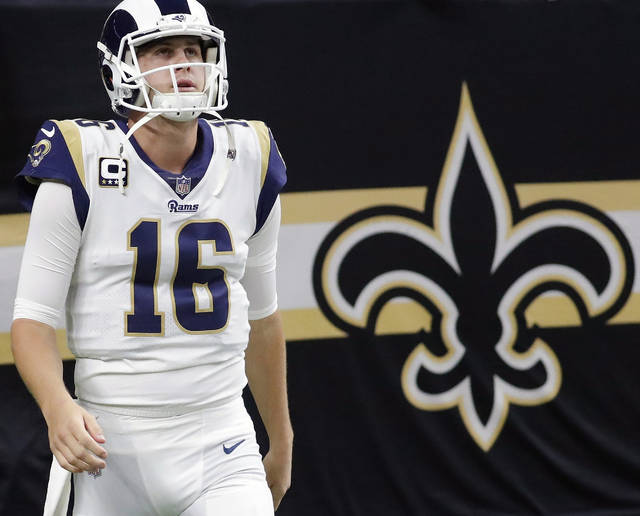 FILE - In this Jan. 20, 2019, file photo, Los Angeles Rams' Jared Goff takes the field before the NFL football NFC championship game against the New Orleans Saints in New Orleans. Goff was 7 years old when Tom Brady won his first Super Bowl in early 2002. The Rams quarterback has looked up to his fellow Bay Area native ever since, and now they're meeting in the Super Bowl. (AP Photo/John Bazemore, File)