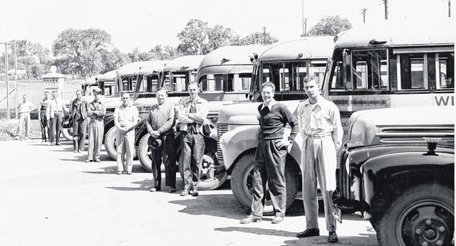 "This photo is of Wilmington bus drivers and ""buses on hand or in service at close of school 1947"", and it was taken by the ""H.H. Van Dervort Transportation Co., 246 Fife Ave., Wilmington, Ohio."" The last names of some drivers are listed, including Inwood, Stephens, Rudy, Toliver, Reynolds, Noftsger, DeBoard and Frump. Do you recognize any of the drivers? If so, please let us know at info@wnewsj.com."