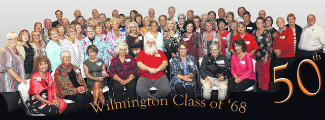 At the Wilmington High School Class of 1968 50-year reunion were: seated, Sheri Keiter Mason, Penny Farquhar, Betsy Curtis Russo, Diane Sherman Ewing, George Stults, Suzy Brown Bunn, Becky Heiland Haines, Pam Lambcke Petty; second row, Timmie Burris Cook, Joy Roberts Brubaker, Janet Damron Morris, Valerie Stephenson Rose, Melanie Hammon Moseley, Cheryl Johnson Powell, Judy Baumaster Proto, Karen Daughtery, Jackie Wallace Poske, Mary Ann Terrell Raizk, Pam Pavey Brunetti, Teri Townsend Camp, Cindy Ames; third row, Steve W. Powell, Delores Sturgill Faulkner, Linda Stroup Stanforth, Toni Grogan Jenkins, Diana Ewing, Janie Williams Hartung, Patti Boyle Charles, Ed Lacy, Ann Gallagher Williams, Pat Runnels Purtee, Cindy Morton Patrick, Donna Haynie Haines, Brenda Clevenger Rolf; fourth row, Ed Speelman, John Petty, Dale Faulkner, Don hayes, Dan Reeves, Debbie Stewart, Jim Groves, David Reeder, Rick Stanforth, Marcia McGuire Glaros, Mary Boyd Getz, Mary Fealy Gibson, David Lane, Steve Powell, Bobby Pierson, Connie Doyle, Mary Sue Carder, Gary Holdren, Terri Foland Bush, Gordon Rulon, Mark Dome, Tom Browning, Anne Morgan, Steven Haines, Joy McConnell, and David Raizk.