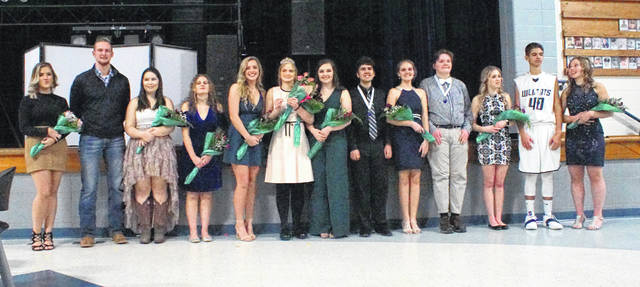 Natalie Steward was crowned 2019 Homecoming Queen during a ceremony Friday night at Blanchester High School. In the photo, from left to right, 2018 Queen Kayla Gregg, 2018 King Jordan Stroud, 2019 Homecoming Court Felicity Hudson, Savanna Shank, Brianna Wilson, Queen Natalie Steward, Brighton Morris, Tyler Wathen, Emma Rumpke, Daniel Larking, Kenzie Cottle, Seth Akers and Lacie Tedrick.