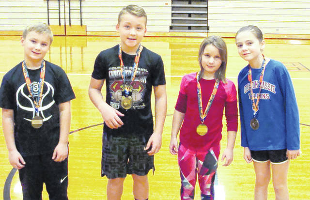 In the photo from left to right, Carson Barton, Gunnar Martin, Caydee Copas, Isabelle Penewitt.