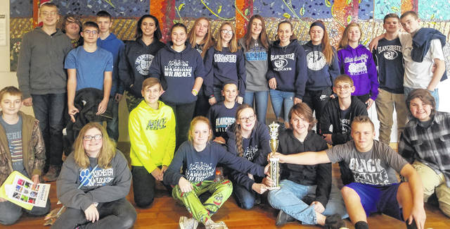 Members of the eighth-grade Blanchester Middle School teams who took part in an Academic Quiz Bowl.