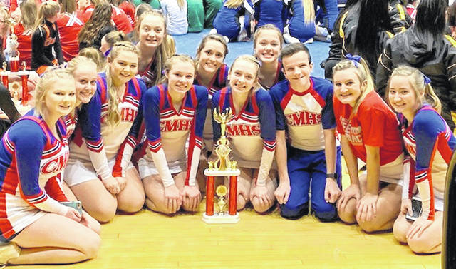 The Clinton-Massie cheerleaders finished third Sunday in a competition at Ohio State University. The CM squad missed second place by one point, coach Sheri Stulz said. The team will compete at the High School Nationals Feb. 8-10 in Florida. Team members are, from left to right, front row, Sadie McIntosh, Allison Brown, Cheyanne Bare, Isabella Gross, Abby Coy, Joel Brothers, Karlee Rice and Emily Allgeyer; back row, Karsyn Lisle, Kylee Lamb and Abby Broglin. Coach Sheri Stulz was not in the photo.