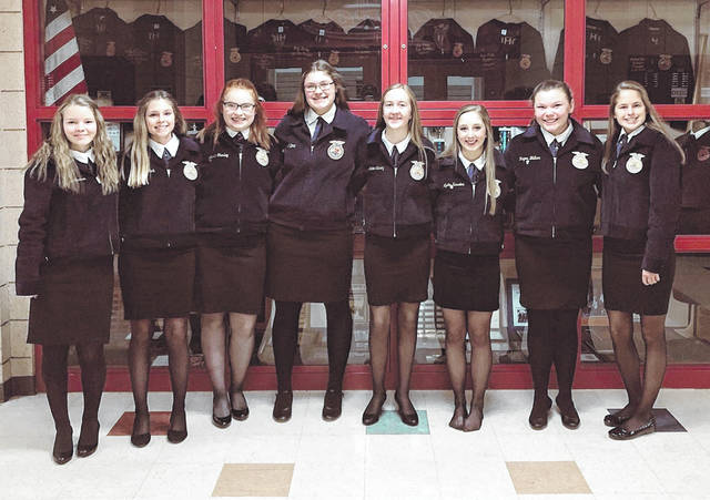 The Novice team of President Anna Malone, Lydia Kessler, Carah Anteck, Myah Anteck, Katie Carey, Alycia Baker, Jenna Stanley and Regan Walker.