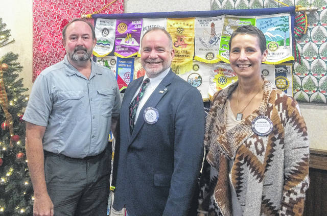 From left are Dr. Tom Tigar, Wilmington Rotary Club President Dan Evers, and Katherine Harrison Tigar.
