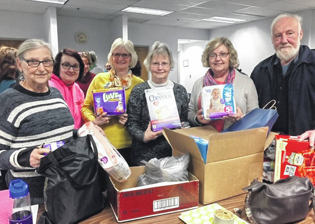 The Clinton County Alliance for Compassion and Truth (ACT) collected items for the local Community Action Council Food Bank this week. Pictured, from left, are the Rev. Elaine Silverstrim, Brittany Skidmore, Mary Conger, Joan Burge, Sharon Breckel and Lee Silverstrim. ACT is a non-partisan, women-led group dedicated to positive social change through group/peer support, information sharing, and organizing for political action.