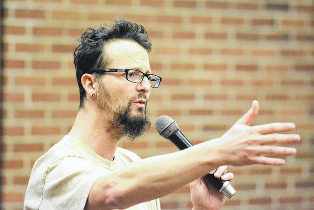 Shane Claiborne is pictured speaking at WC last year, when he spoke about how working with Mother Teresa in India provided him with a new direction in his life.