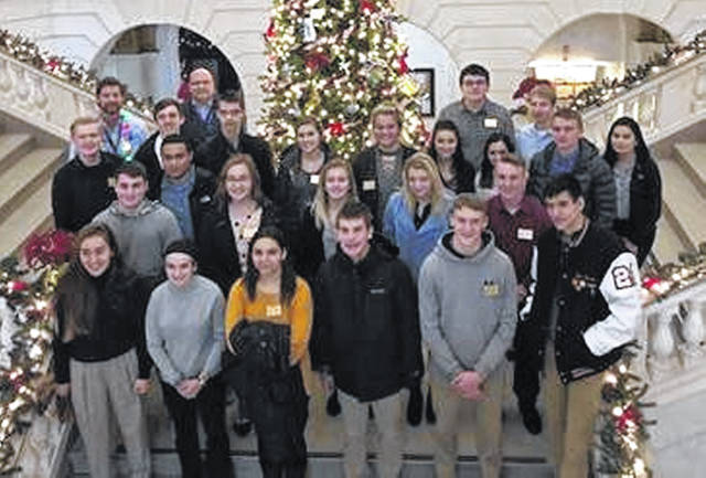Leadership Clinton Youth Collaborative class members from Blanchester High School, Clinton-Massie High School, East Clinton High School, Laurel Oaks, Wilmington High School, and Wilmington Christian Academy gather in the rotunda of the Clinton County Courthouse.