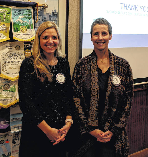 From left are Carrie Ziegler, Rotarian and organizer of the Clinton County Chapter of Sleep in Heavenly Peace, and Kathrine Harrison Tigar, President-elect of the Wilmington Rotary Club.